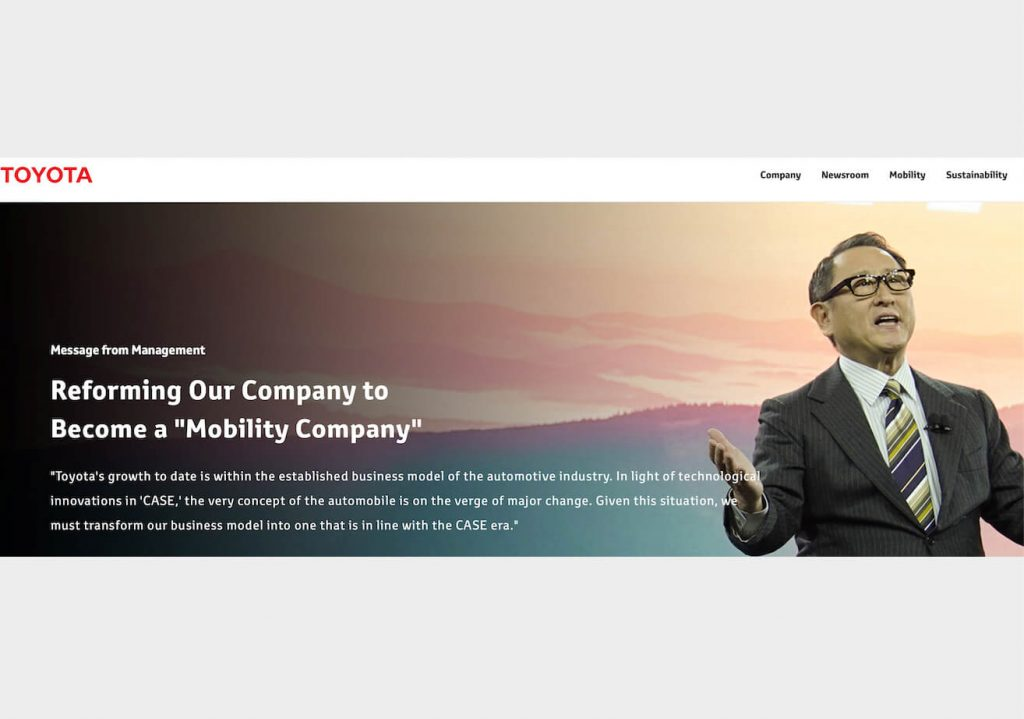 Akio Toyota says Toyota will become a mobility company